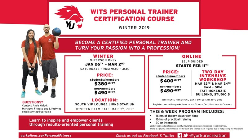 SIGN UP FOR WITS PERSONAL TRAINER CERTIFICATION COURSE
